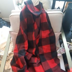 Vintage woolrich red black buffalo check throw